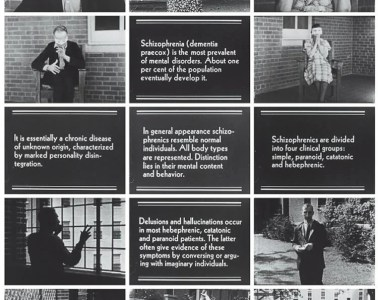 "The image shows 15 frames from the silent movie ""Symptoms of Schizophrenia"", circa 1940."