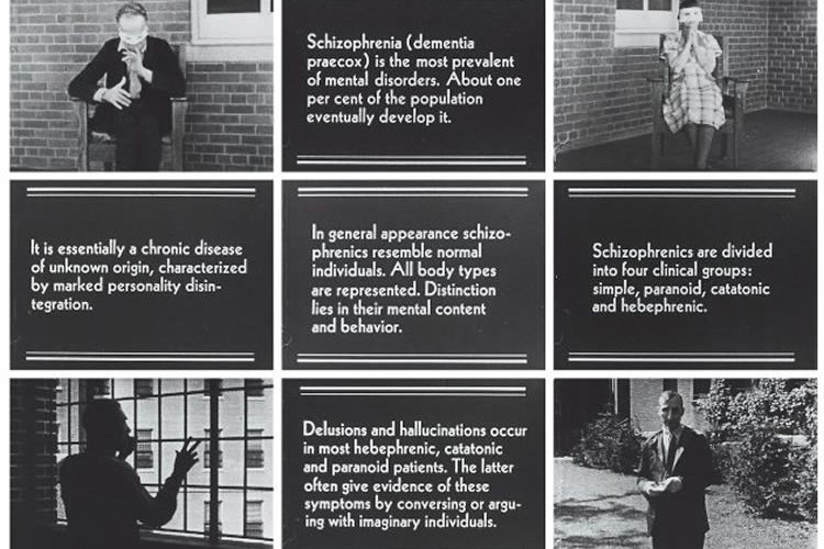 """The image shows 15 frames from the silent movie """"Symptoms of Schizophrenia"""", circa 1940."""