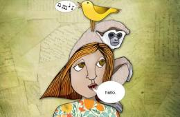 The image shows a bird, a monkey and a girl.