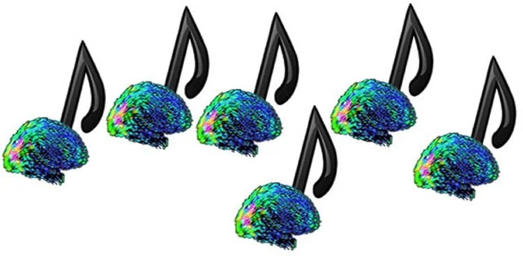 This image shows brains as the feet of musical notes.