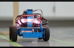 This image shows what looks like a robotic car following a track.