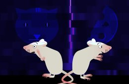 This is a cartoon of two surprised looking mice.
