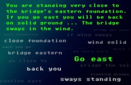 Image shows descriptive writing, as if from a text based computer game.