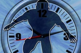Image shows a clock and an outline of a man.