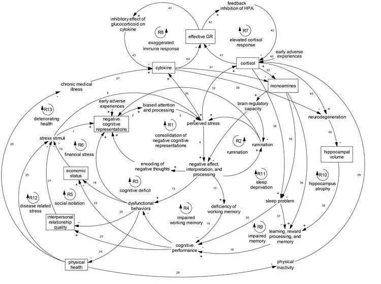diagram shows the comprehensive model of depression