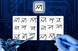 Image shows a human hand and a robotic hand drawing symbols.