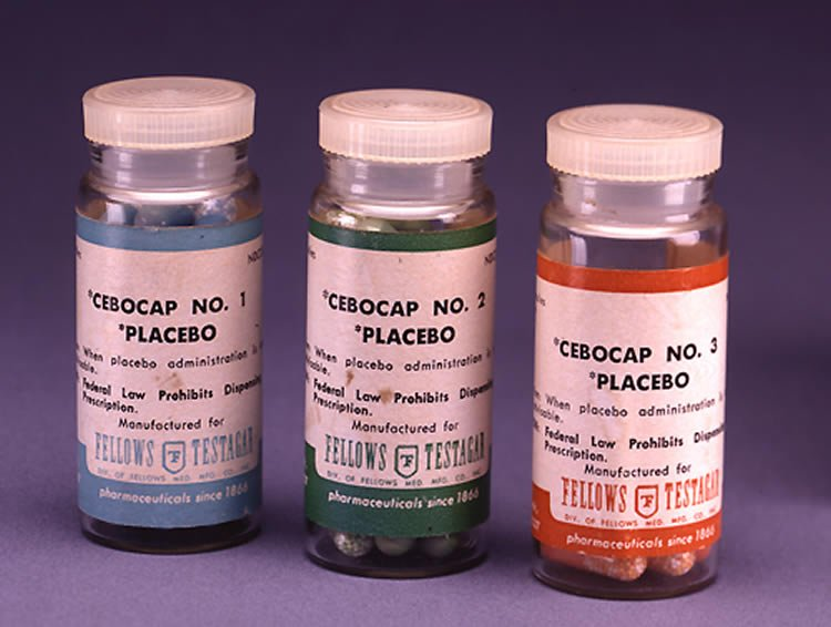 Photo of placebo bottles.