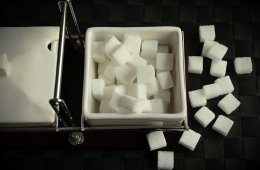 Image shows sugar cubes.