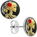 Body-Candy-Stainless-Steel-Red-Rose-Skeleton-Stud-Earrings-0