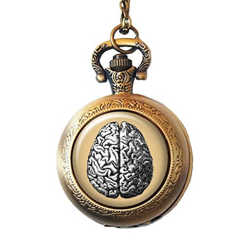 Vintage brain pocket watch necklace antique doctor and nurse 799 aloadofball Choice Image