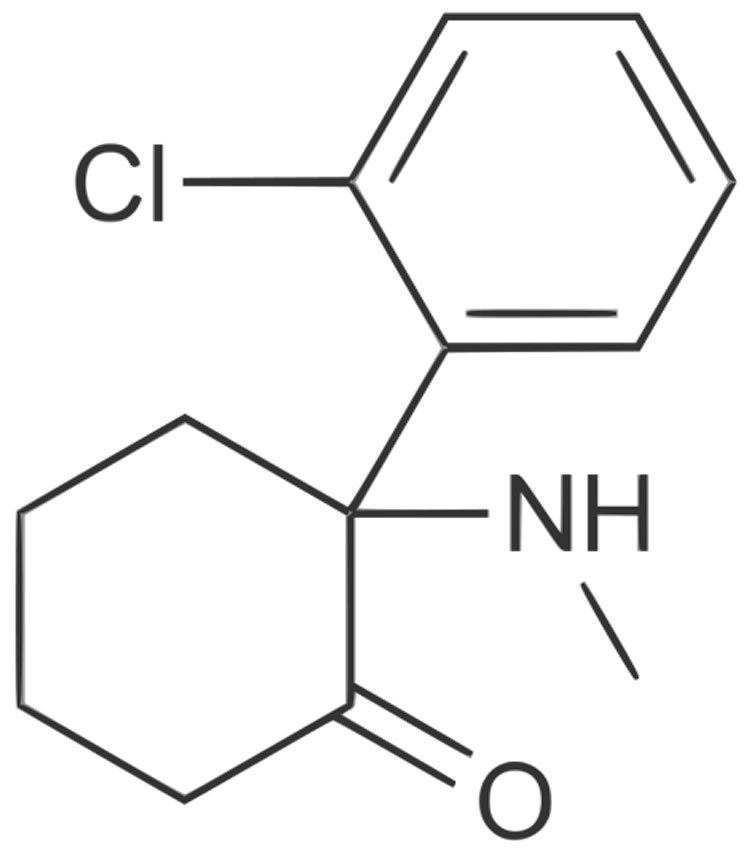 Chemical structure of ketamine.