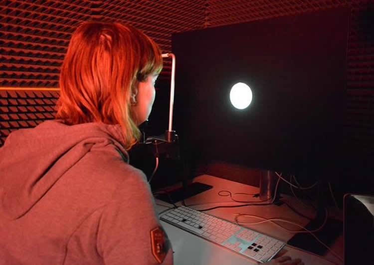Image shows a person undergoing the experiment.