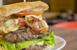 Image shows a massive hamburger.