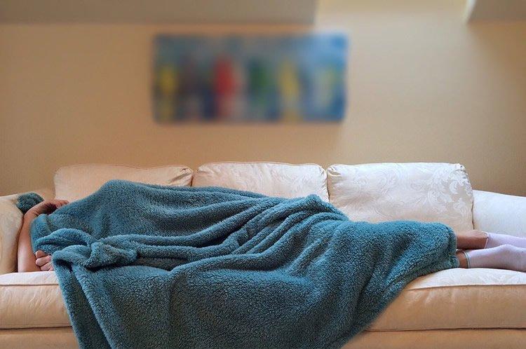 a woman taking a nap.