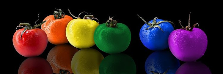 Image shows colored foods.