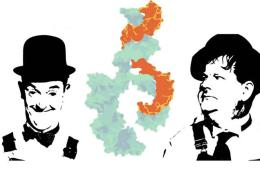 Image shows Laurel and Hardy and a DNA strand.