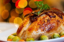 Image shows a cooked turkey.