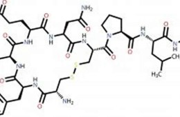 Image shows the chemical structure of oxytocin.