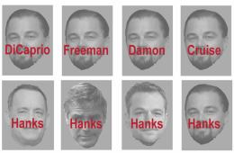 Image shows male film stars with wrong names written over their pictures.
