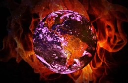 Image shows a burning earth.