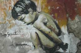 Image shows painting of a boy.