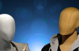 Image shows two tailor dummies.