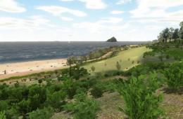Image shows the virtual beach.