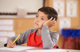 Image shows a young boy at school.