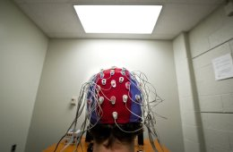 a person in an eeg cap.