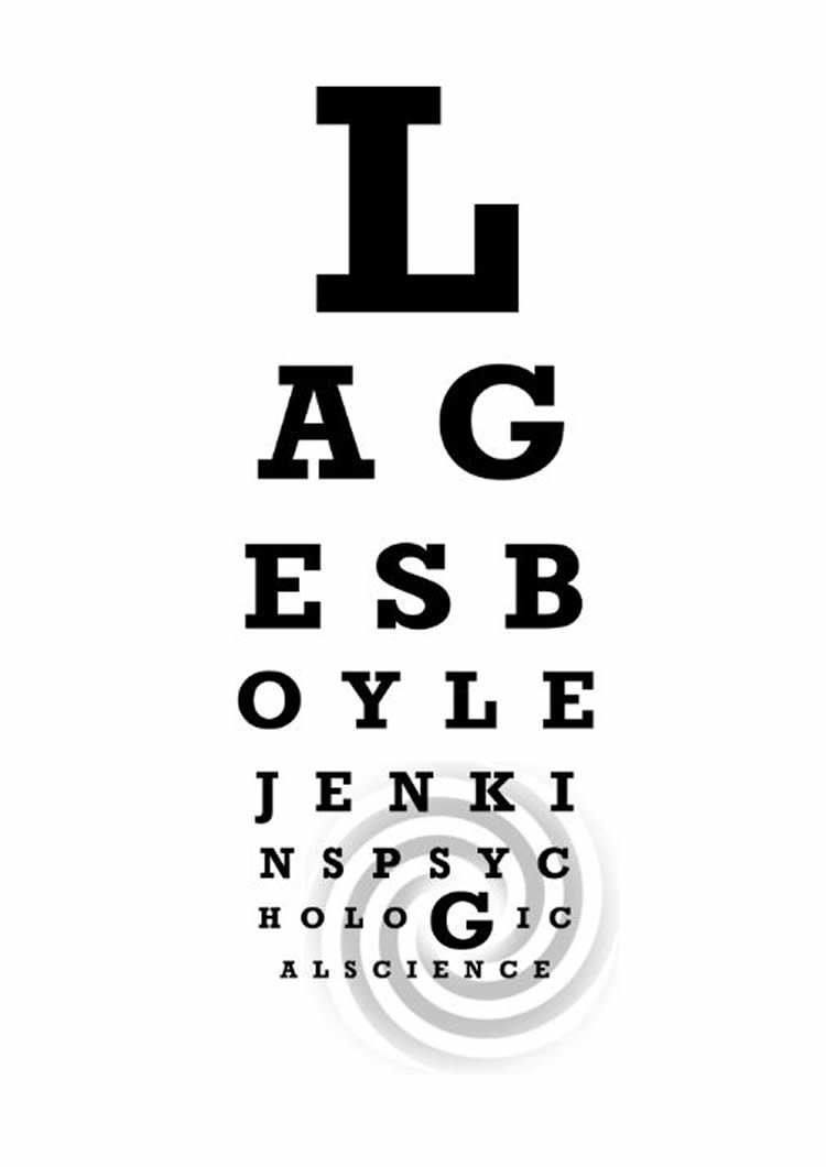 Exposure to a common visual illusion may enhance your ability to image shows a swirl and an eye chart nvjuhfo Image collections