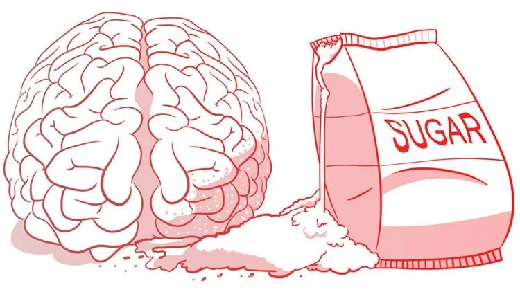 Image shows a brain and bag of sugar.