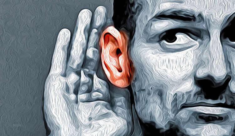 Image shows a drawing of a person cupping their ear.
