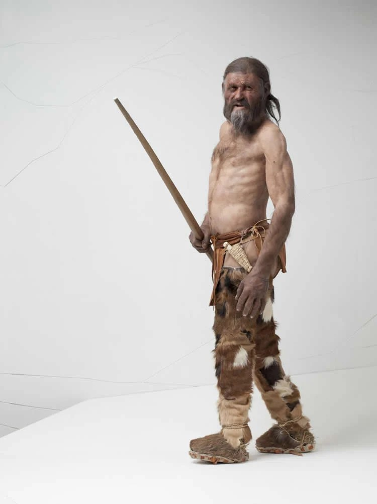 Image shows a reconstruction of Iceman.