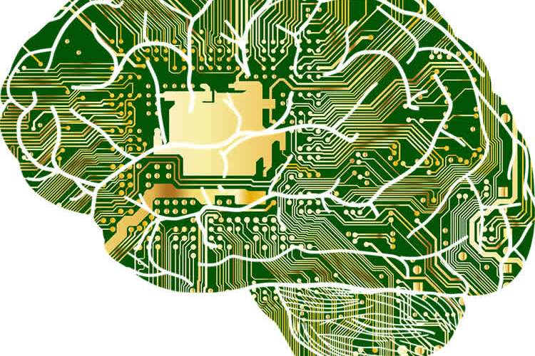 Image shows a brain made of microchips.