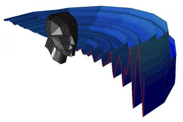 Image shows a diagram of the acoustic pattern of mouth clicks for human echolocation.