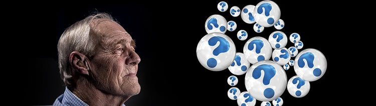 Image shows an old man surrounded by question marks.