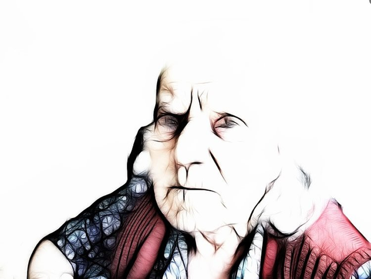 Image shows a drawing of an old lady.