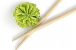 Image shows wasabi and chopsticks.