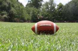 a football laying in grass