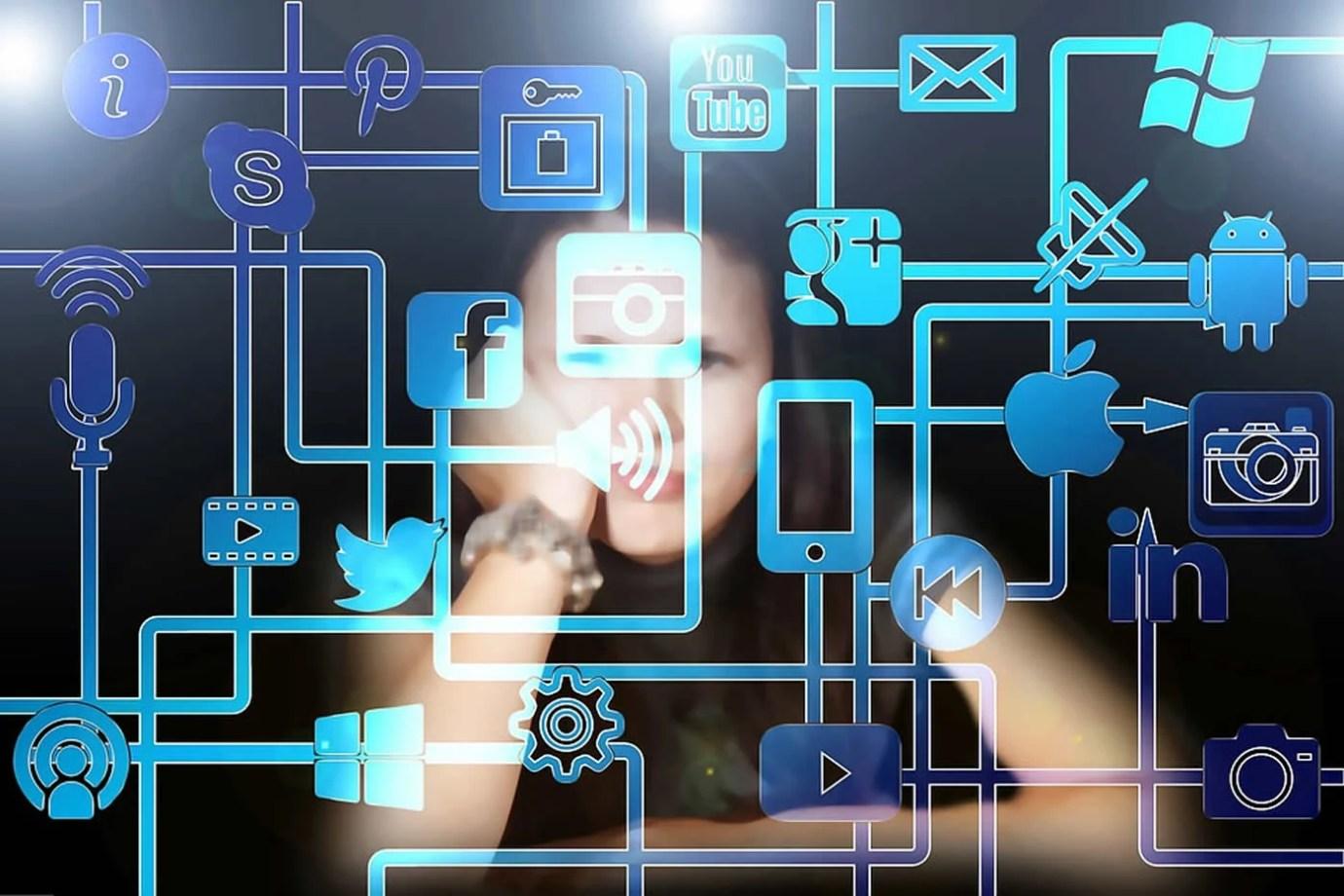 Image shows a woman and social media symbols.