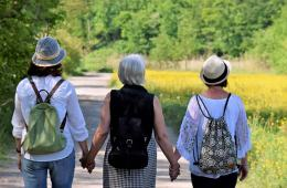 a group of older ladies walking