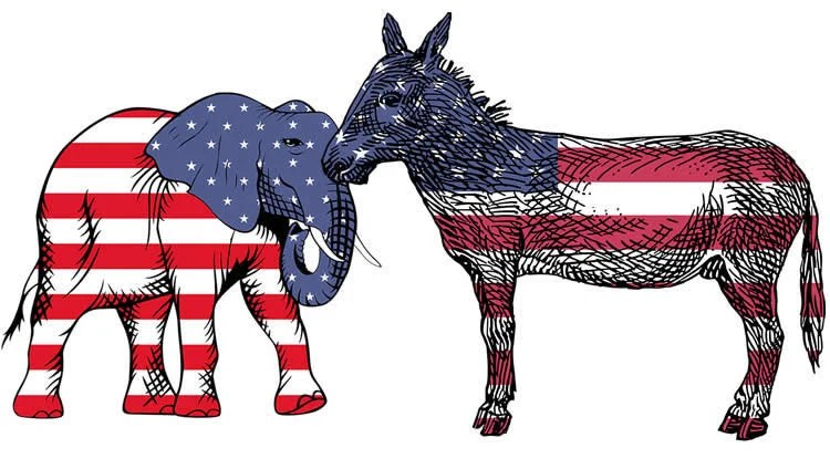 gop elephant and democrat donkey