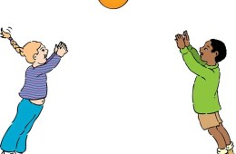 a cartoon of a boy and girl throwing a ball