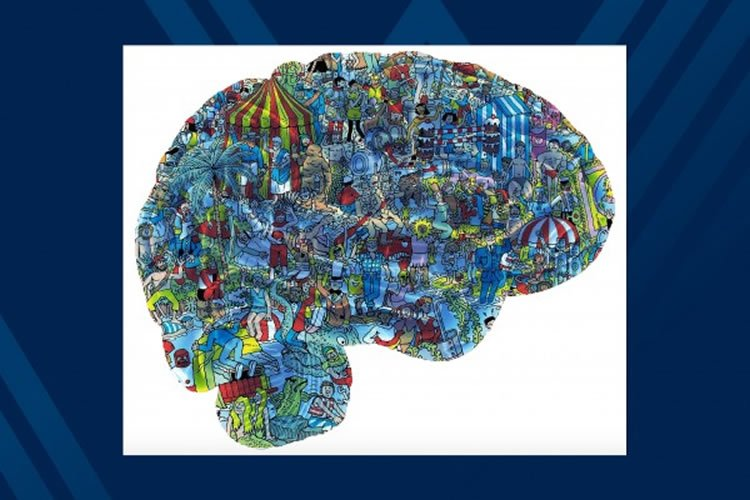 a brain made from a Where's Wally page