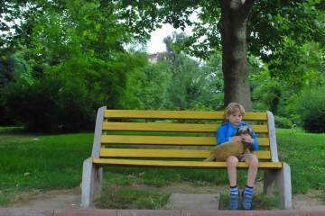 a child on a bench