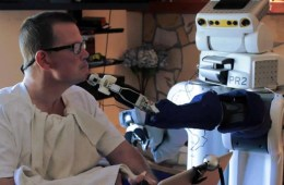 This is a robot body surrogate and a patient with motor impairments