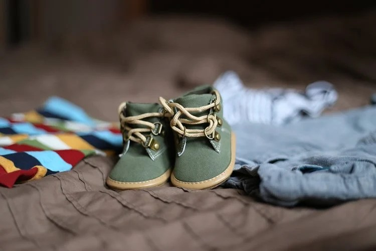 A pair of baby shoes are shown here