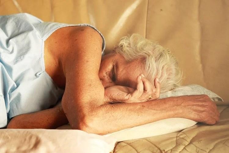 An older lady sleeping