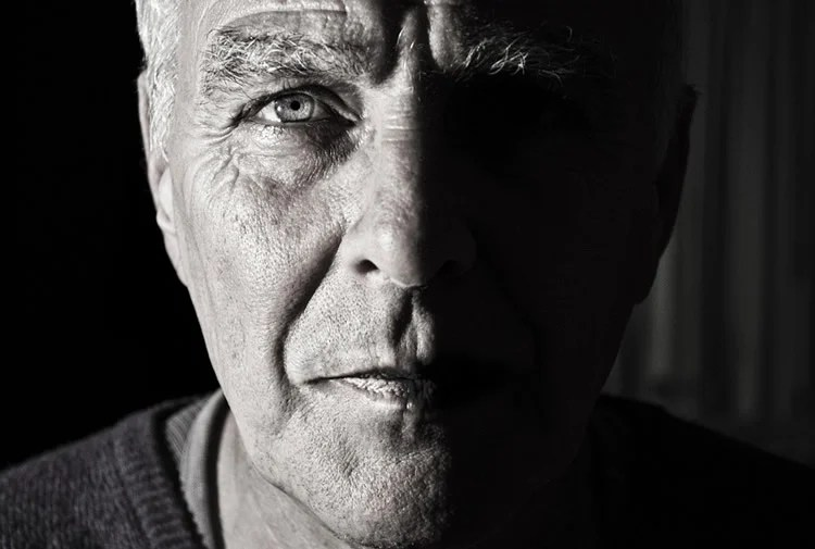 This shows the eyes of an older man