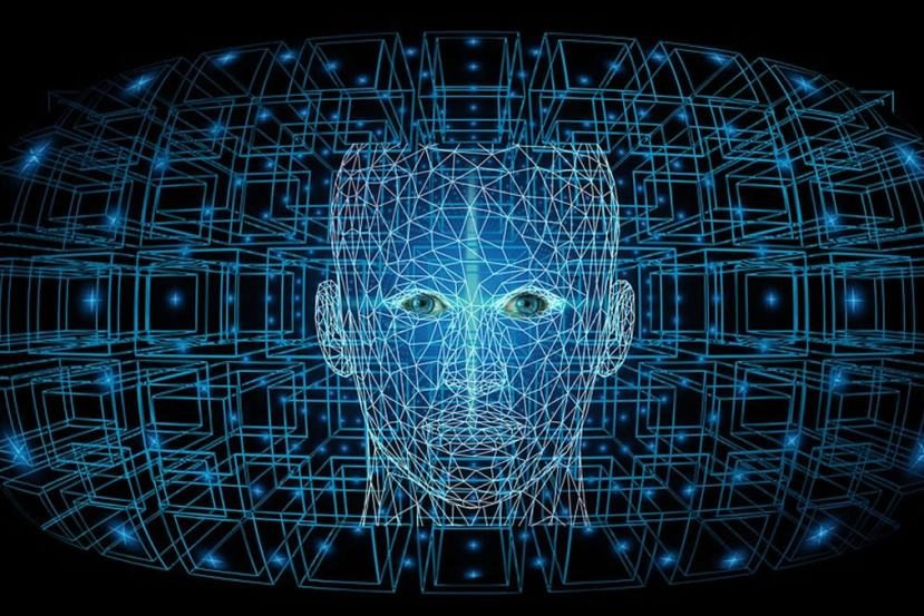 This shows a computerized face and network lines